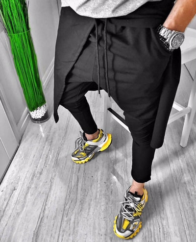 Francesco Black Fashion Jogger With Front Opening