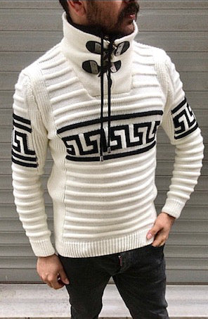 White Long Sleeve Sweater Pull Over with Zipper On Neck