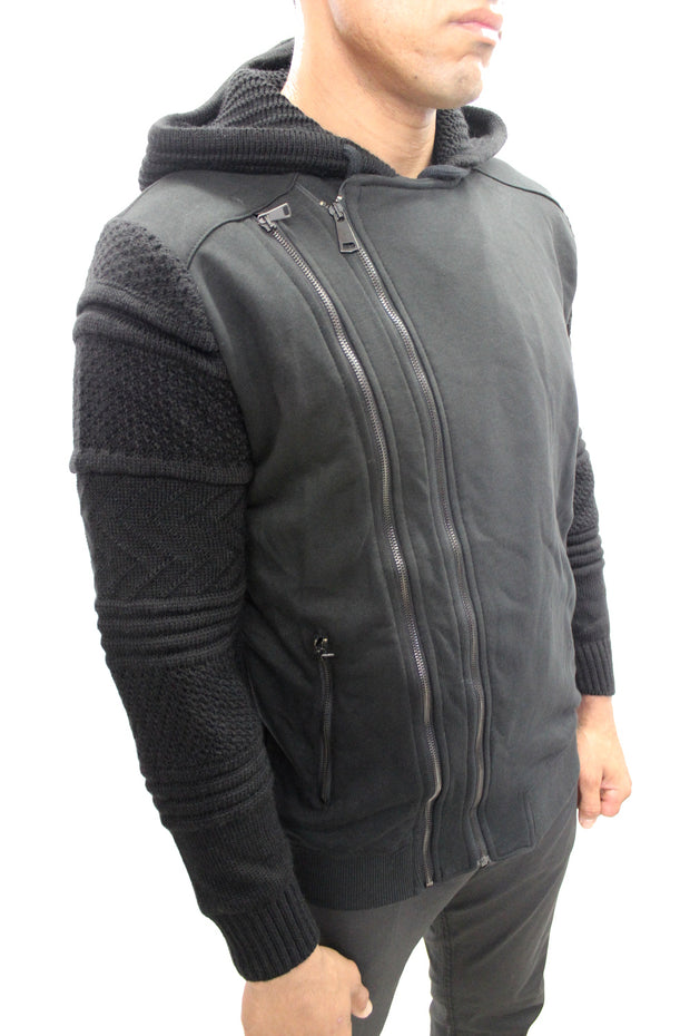 """Grant"" Black Double Zipper Hoodie With Wool Sleeves And Hood"