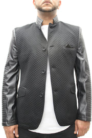"""Moein"" Black Blazer With Leather Details On Sleeve And Collar"