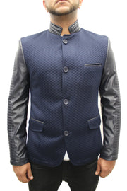 """Moein"" Navy Blue Blazer With Leather Details On Sleeve And Collar"