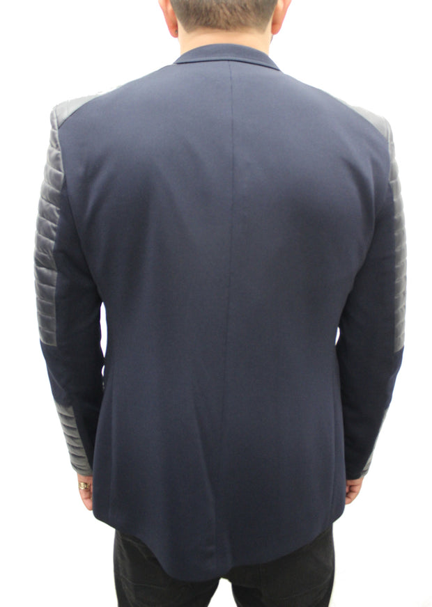 """Black Cats"" Navy Blazer With Leather Details On Shoulder And Sleeve"