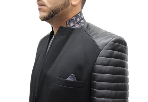 """Black Cats"" Black Blazer With Leather Details On Shoulder And Sleeve"