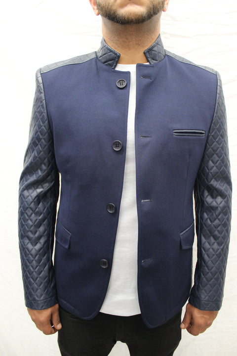 """Mahyar"" Navy Blazer With Leather Details On Shoulder And Sleeve"