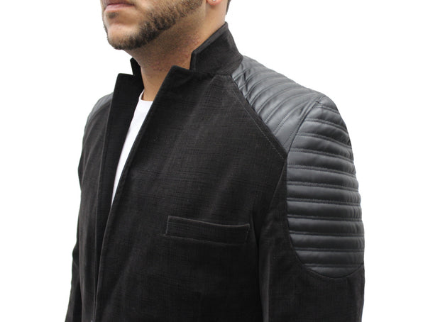 """Javid"" Black Blazer With Leather Details On Shoulders"