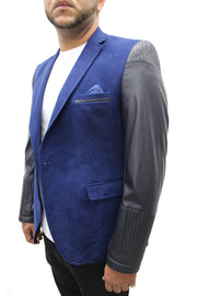 """Vegas"" Sax Blue Blazer With Leather Details On Sleeve"