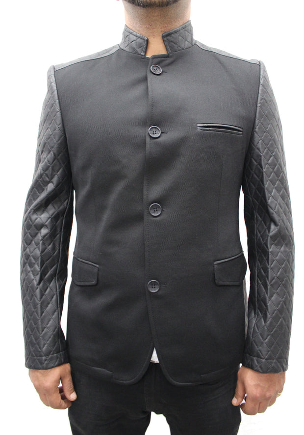 """Mahyar"" Black Blazer With Leather Details On Shoulder And Sleeve"