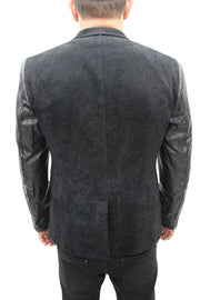 """Vegas"" Black Blazer With Leather Details On Sleeve"