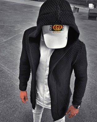 """Luca"" Black Fashion Sweater Cardigan With Hood"