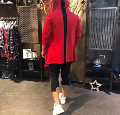"""Jacopo"" Red Fashion Cardigan With A Stripe On Back"