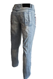 Parker Light Blue Relax Fit Booth Cut Moto Jeans