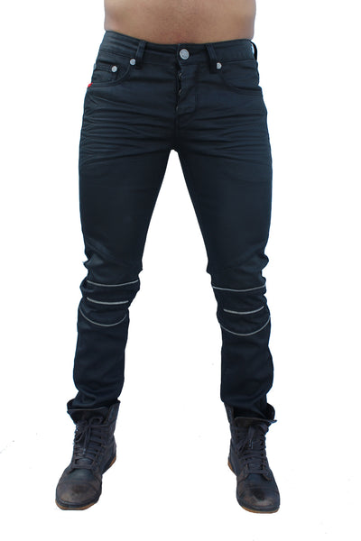 Stance Black Waxed Moto Jeans with Zipper Knee Details