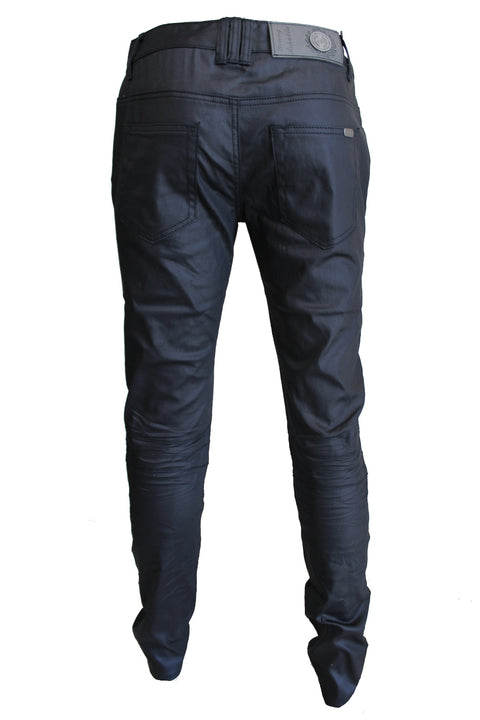 Harley Black Waxed Moto Jeans with Zipper Front Details