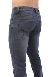 Milo Black Wash With Moto Stitch Details Jeans