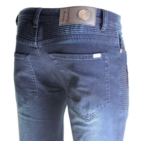 Milo Navy Wash With Moto Stitch Details Jeans