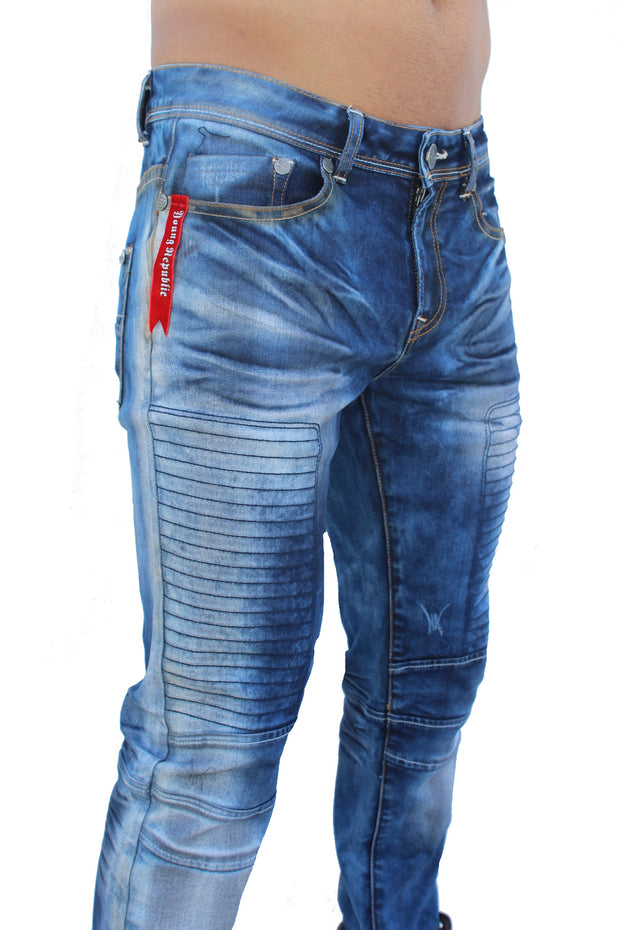 Finn Light Blue Washed Moto Front Details Jeans