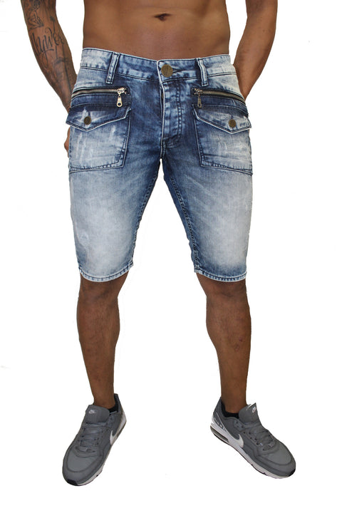 Ivan Light Blue Jean Shorts With Zip And Pocket Detail