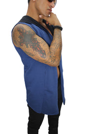 Orion Sax Blue Sleeveless Long Cardigan w/Hoodie