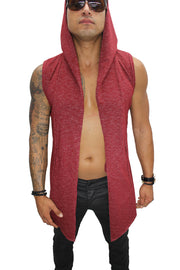 Orion Red Sleeveless Long Cardigan w/Hoodie