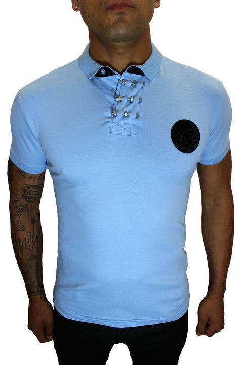 Merriam Sky Blue Polo With Skill Patch and Details