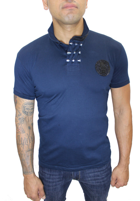 Merriam Navy Polo With Skill Patch and Details
