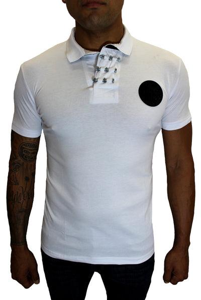 Merriam White Polo With Skill Patch and Details