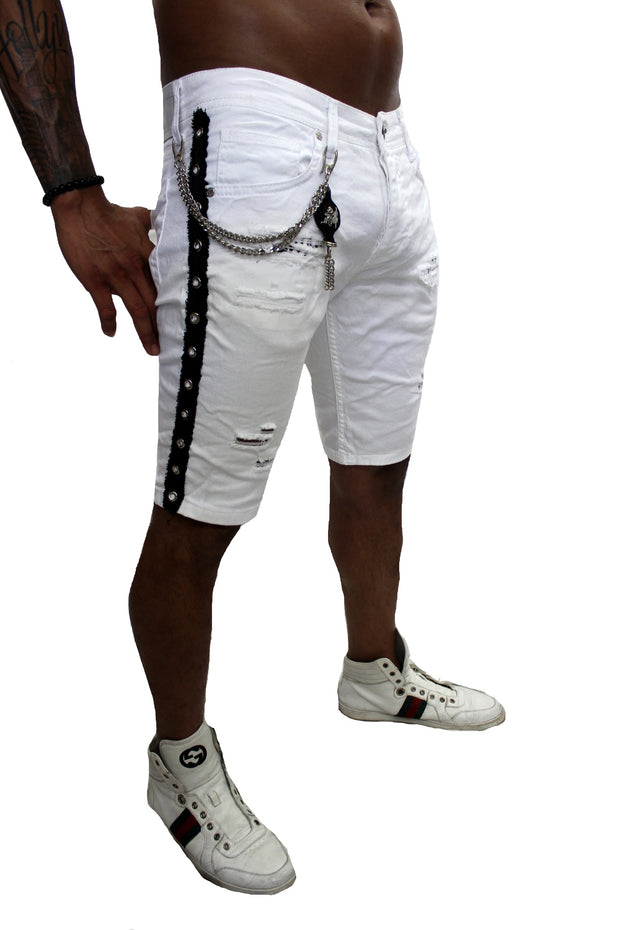 King White Denim Shorts With Side Stripe And Removable Chain