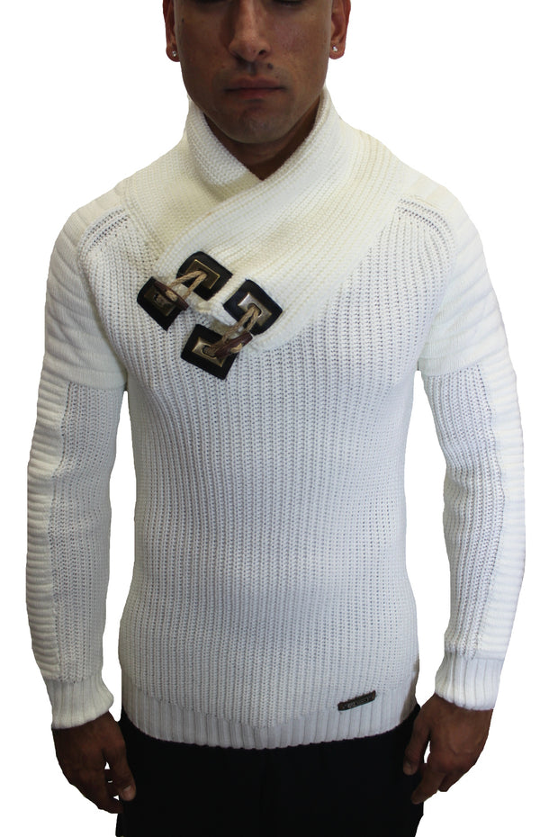 """Pearson"" Beige Shawl Fashion Collar Pullover Sweater"