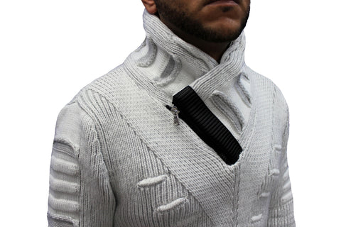 """Arlen"" Ecru Fashion Shall Sweater With Zipper On Side Of Shall"