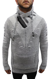 """Arlen"" GREY Fashion Shall Sweater With Zipper On Side Of Shall"