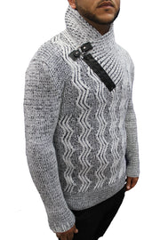 """Electra"" White Shall Fashion Sweater With Buckle On Side"