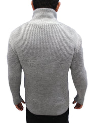 """Byrne "" Charcoal Grey Shawl Collar Button Mock Sweater"