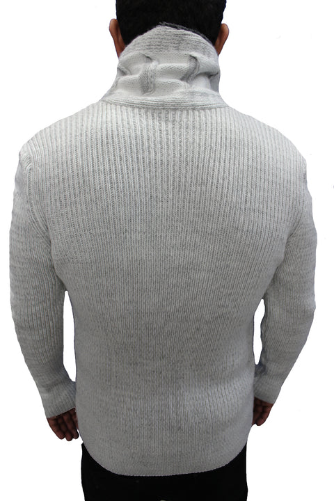 """Omnia"" Light Grey Shawl Zip Up Collar Sweater With Leather Button Mock"