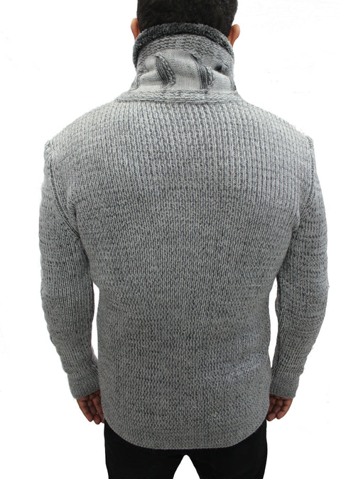 """Omnia"" Charcoal Grey Shawl Zip Up Collar Sweater With Leather Button Mock"