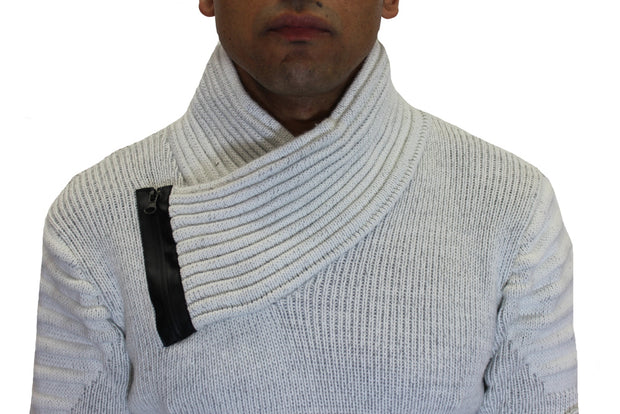 """Asher"" Grey Shawl Fashion Collar Sweater With Zipper"
