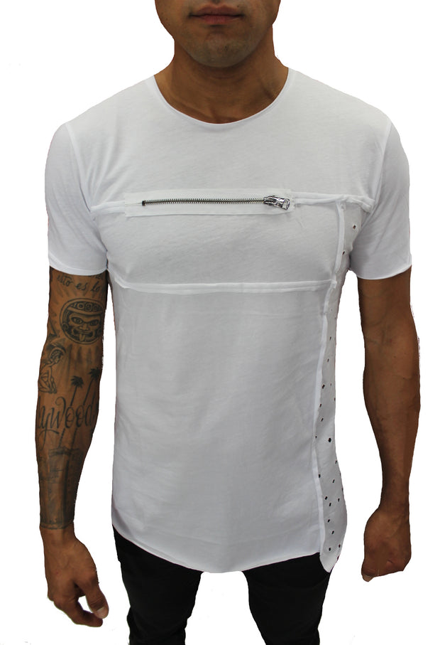 Tommy White Tee With Zipper And Side Texture Detail