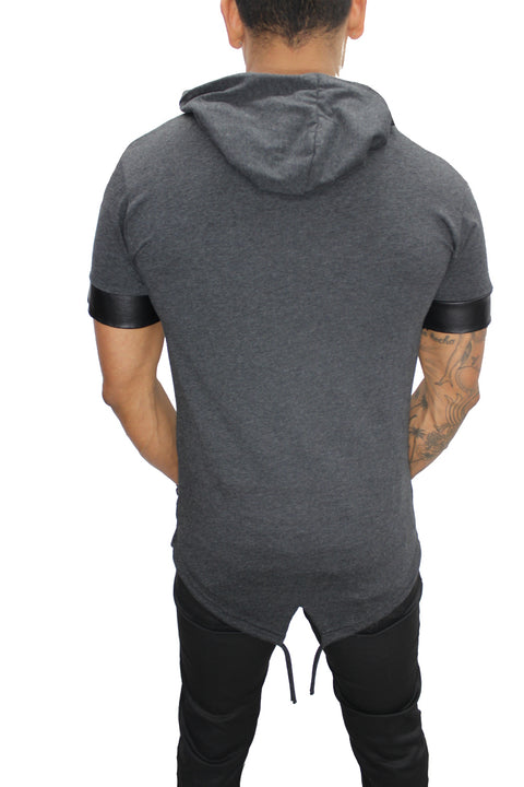"""Oliver"" Charcoal Grey Tee with Hood and Zip Detail"