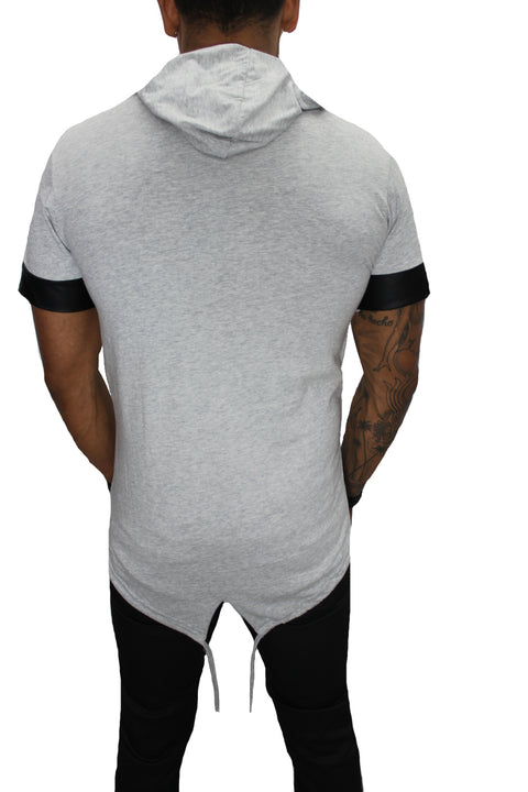 """Oliver"" Light Grey Tee with Hood and Zip Detail"