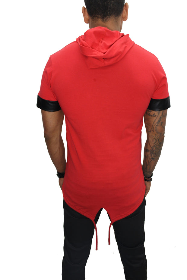 """Oliver"" Red Tee with Hood and Zip Detail"
