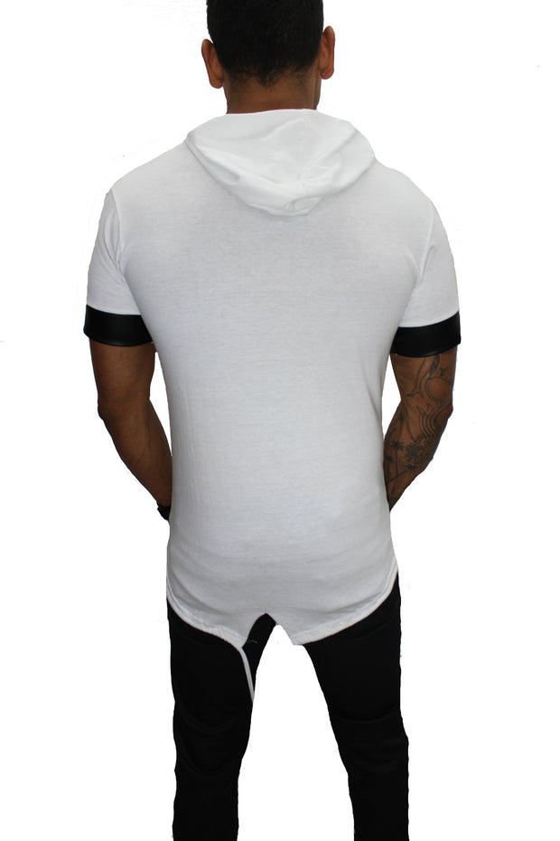 """Oliver"" White Tee with Hood and Zip Detail"