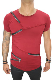 """Albert"" Red Tee with fashion Zip Detail"