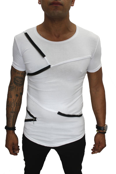 "ALBERT"" WHITE TEE WITH FASHION ZIP DETAIL"