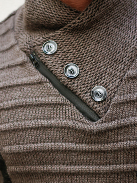 """Byrne"" Chestnut Long Sleeve Shawl Collar Button Mock"
