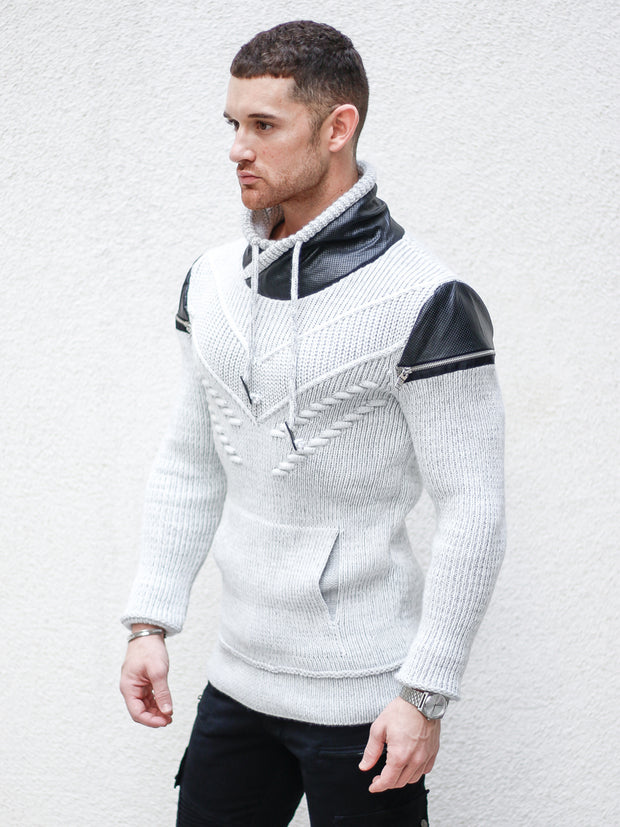 """Alex"" Light Grey Pull Over Sweater with Zipper Shoulder"