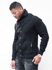 """Liam"" Black Shawl Collar Button Down Sweater"