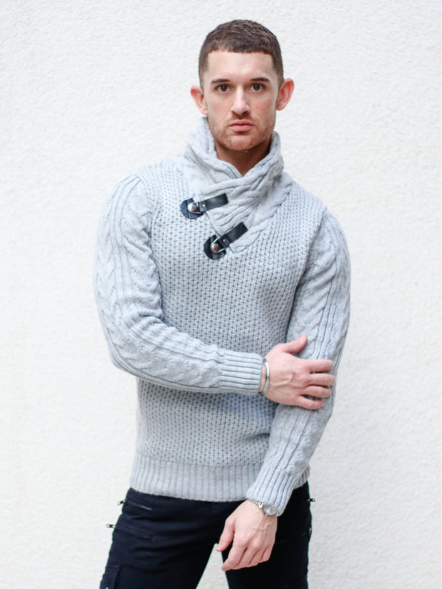 """Dennis"" Light Grey Shawl Collar Sweater"