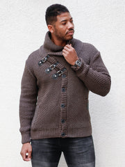 """Liam"" Mahogany Shawl Collar Button Sweater"
