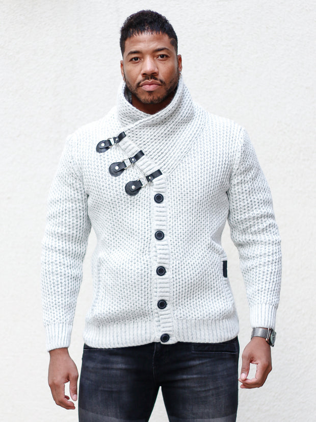 """Liam"" White Shawl Collar Button Sweater"