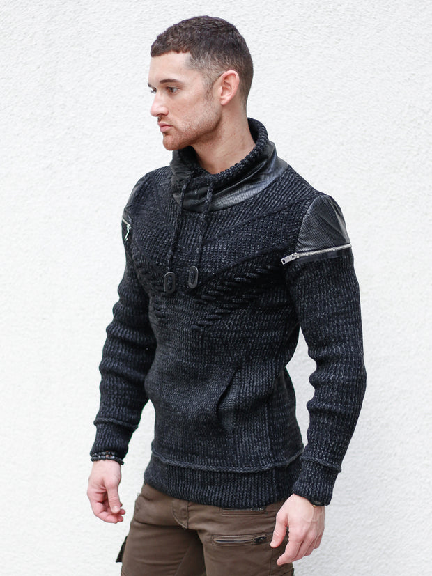 """Alex"" Black Long Sleeve Sweater Pull Over with Zipper Shoulder"