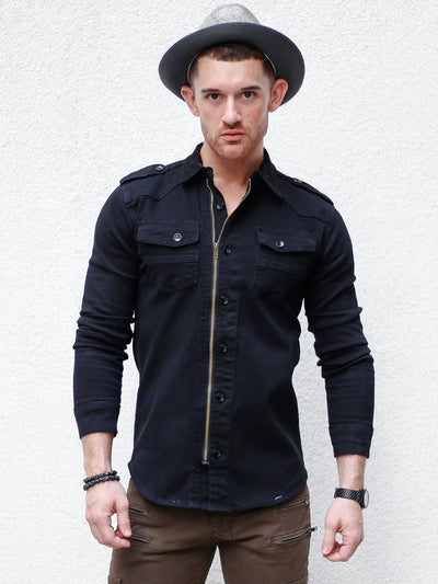 """Austin"" Black Zipper Long Sleeve Denim Shirt"
